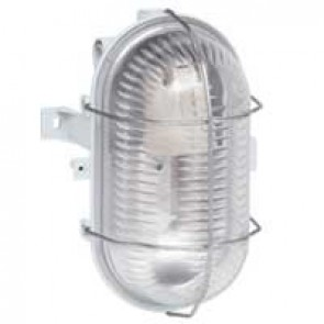 Bulkhead light - IP44 - IK06 - oval 60 W- E27 - metal grid no tool - grey