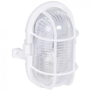 Bulkhead light - IP44 - IK06 - oval 60 W-E27 -plastic grid screw fixing-white