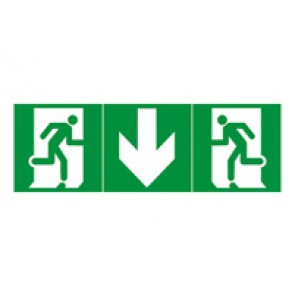 Label - for emergency lighting luminaires - exit door below - 100 x 200 mm