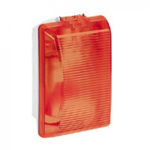 Bulkhead light Plexo - IP54 - IK08 - rectangular - 75 Wincandescent - red