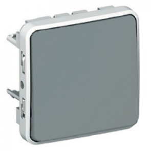 Push-button Plexo IP55 - N/O contact - 10 A - modular - grey