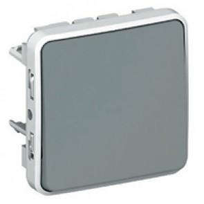 Push-button Plexo IP55 - N/O contact - 10 A - modular - grey