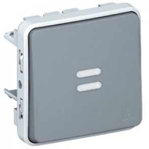 Push-button Plexo IP55 - illuminated N/O contact - 10 A - modular - grey