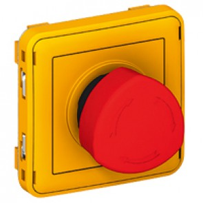 Emergency stop button Plexo IP55 - stay-put 1/4 release- modular - grey/yellow