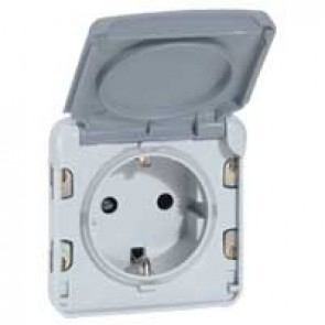 Socket outlet Plexo IP55 - German standard - 2P+E automatic terminals- modular-grey
