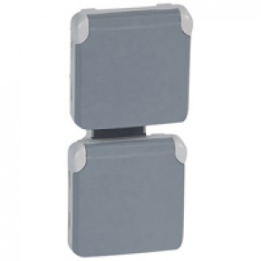 Socket outlet prewired Plexo IP55-German standard-2x2P+E vertical-modular-grey