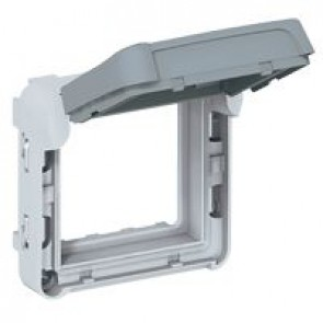 Support frame Plexo 55 - for Mosaic 2 modules - IP55 - with smoked flap lockable