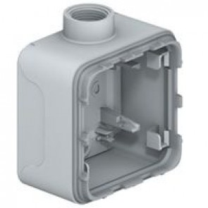 Surface mounting box Plexo IP55 - 1 gang - for cable glands - grey