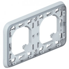 Flush mounting support frame Plexo IP55 - 2 gang horizontal - grey