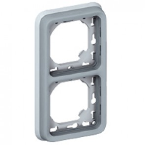 Flush mounting support frame Plexo IP55 - 2 gang vertical - grey