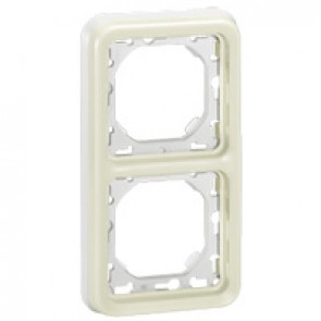 Flush mounting support frame Plexo IP55 - 2 gang vertical - white