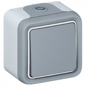 Push-button Plexo IP55 - N/O contact - 10 A - surface mounting - grey