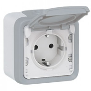 Socket outlet Plexo IP55 - German standard - 16 A - 2P+E - surface mounting - grey
