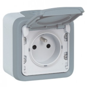 Socket outlet Plexo IP55 - Fr standard - 16 A - 2P+E shutters -surface mounting -grey