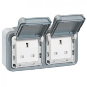 Socket outlet Plexo IP55 - BS - 13 A - 2x2P+E - surface mounting - grey