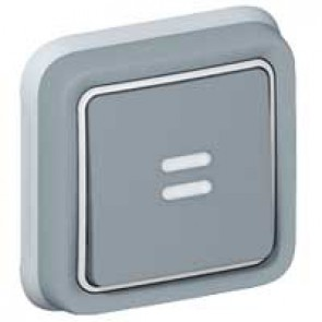 Push-button Plexo IP55 - illuminated changeover - flush mounting - grey