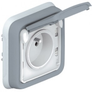 Socket outlet Plexo IP55 - Fr standard - 2P+E + shutters - flush mounting - grey