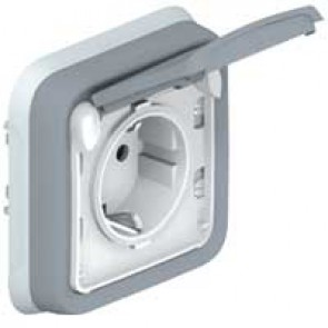Socket outlet Plexo IP55 - German standard - 2P+E - flush mounting - grey