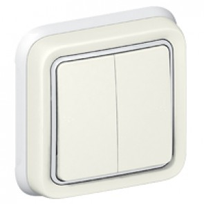Switch Plexo IP55 - 2 gang 2-way - 10 AX 250 V~ - flush mounting - white
