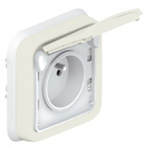 Socket outlet Plexo IP55 - Fr standard - 2P+E + shutters - flush mounting - white