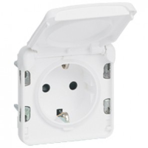 Socket outlet Plexo IP55 antibacterial - German standard - 2P+E-modular-Artic white