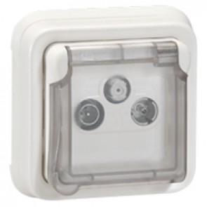 TV-R-SAT socket Plexo IP55 antibacterial - modular-Artic white