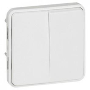 Switch Plexo IP55 antibacterial-2 gang 2-way-10 AX-250 V~-modular-Artic white