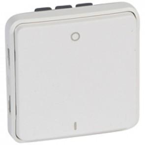 Double pole switch Plexo IP55 antibacterial -10 AX 250 V~-modular-Artic white