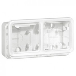 Box with glands Plexo IP55 antibact-2 gang-horiz mounting-modular-Artic white