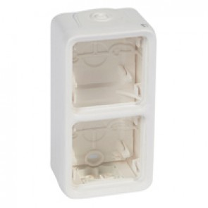 Box with glands Plexo IP55 antibact-2 gang-vert mounting-modular-Artic white