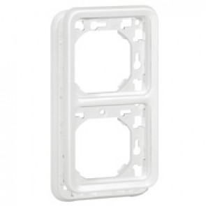 Plate support Plexo IP55 antibacterial-2 gang-vertical mounting-modular-Artic white