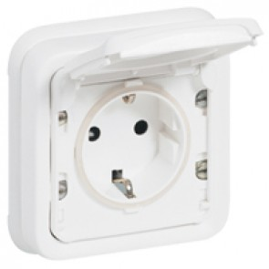 Socket outlet Plexo IP55 antibacterial - German standard with claws - 2P+E - complete - Artic white