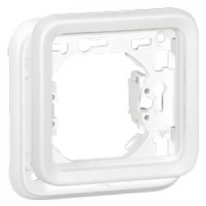 Plate support Plexo IP55 antibacterial - 1 gang - modular - Artic white