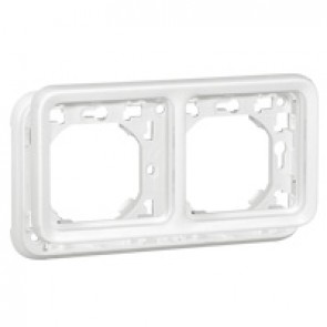 Plate support Plexo IP55 antibacterial-2 gang-horiz mounting-modular-Artic white
