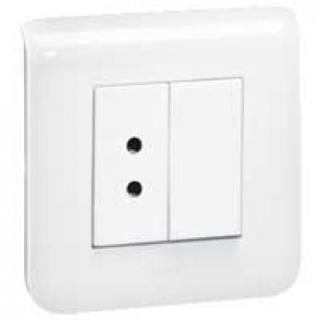 Call unit Mosaic - socket for biomed. alarm and blanking plate - 2 modules - White
