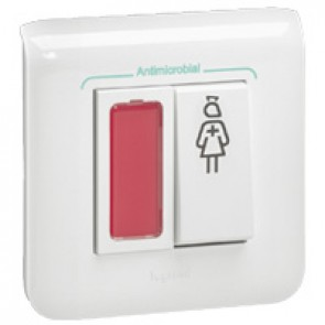 Call Push-button Mosaic-for bathroom-Red indicator-2 modules-White antimicrobial