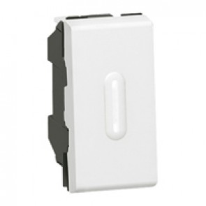 2-way push-button Mosaic - with LED indicator - 6 A 250 V~ - 1 module - white