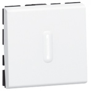2-way switch Mosaic - with LED indicator - 10 AX 250 V~ - 2 modules - white