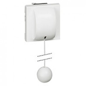 2-way pull-cord push-button Mosaic - with cord - 6 A - 2 modules - white