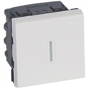 2-way switch Mosaic - with LED indicator 20 AX 250 V~ - 2 modules - white