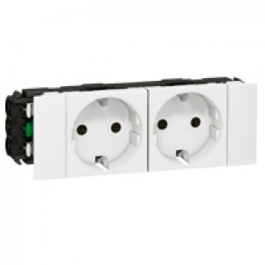 Double socket Mosaic - 2 x 2P+E - for flexible cover snap-on DLP trunking - white
