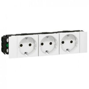 Multiple socket Mosaic - 3 x 2P+E - for flexible cover snap-on DLP trunking - white