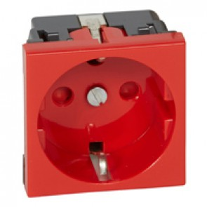 Socket outlet Mosaic - German standard - 2P+E screw terminals - 2 modules - red tamperproof