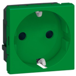 Socket outlet Mosaic - German standard - 2P+E auto term - 2 modules - green antimicrobial