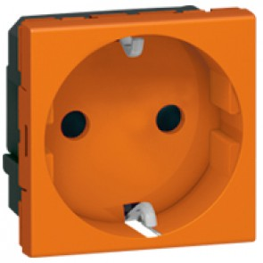 Socket outlet Mosaic - German standard - 2P+E auto term - 2 modules -orange antimicrobial