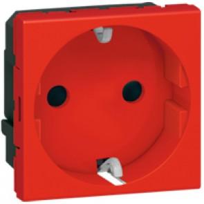 Multi-support single socket Mosaic - German standard - 2P+E auto term - 2 modules - red