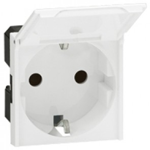 Socket outlet Mosaic - German standard - 2P+E with cover - 2 modules - antimicrobial
