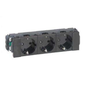3 x 2P+E German standard socket - for flexible cover snap-on trunking Black Edition