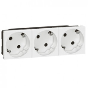 Multi-support multiple socket Mosaic - 3 x 2P+E automatic terminals - standard