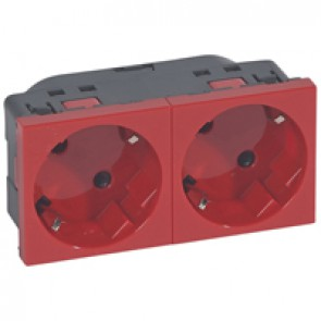 Multi-support multiple socket Mosaic - 2 x 2P+E automatic terminals - red